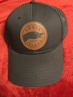 Goose Island Brewing Beer Company Gray Trucker Snapback Hat Cap Leather Logo