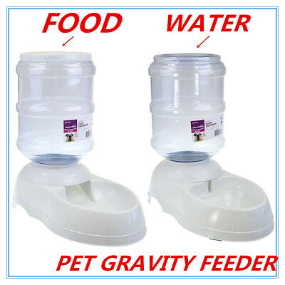 Automatic Plastic Pet Dog Cat Water Food GRAVITY Feeder Bowl Fountain DispenserP