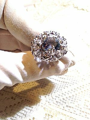 Vintage Antique Genuine Aquamarine Real white Sapphire 925 Sterling Silver Ring