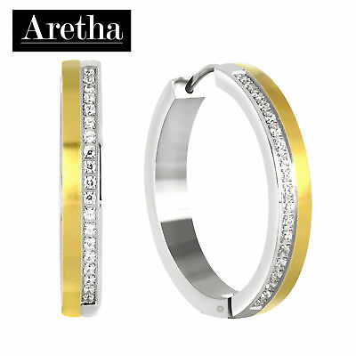 Aretha Stunning 316L Stainless Steel Lady Round Huggies Hoop Fashion CZ Earrings