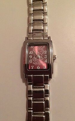 Sanrio Hello Kitty Rectangle Purple Face Metal Stainless Band 2007 Japan Movt