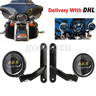 """4.5"""" LED Auxiliary Fog Passing Lights With Housing Bucket & Brackets For Harley"""