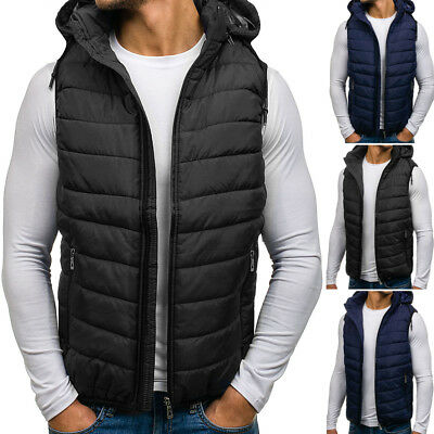 BOLF Mens Vests Gilet Bodywarmer Winter Jacket Waistcoat Puffer Lined 4D4 Hooded