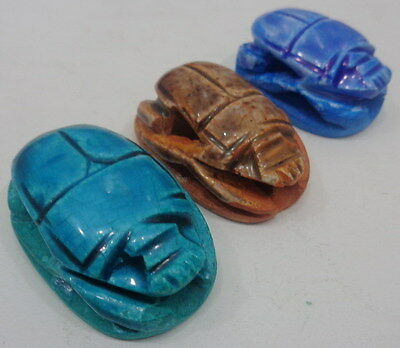 "Egypt Medium Statue Egyptian 1.5"" Handmade lot 3 Scarab Figurine Paperweight"