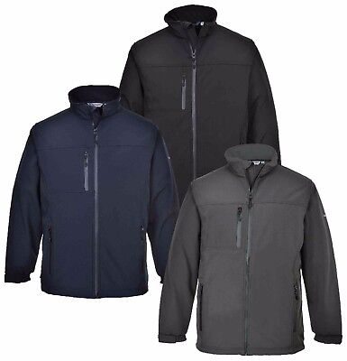 Portwest TK50 Mens Softshell Jacket Twin Layer Shower Resistant Outdoor Workwear