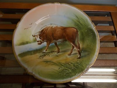 "Ls & S Limoges France 9.5"" Hand Painted Plate Of A Bull Artist Signed"
