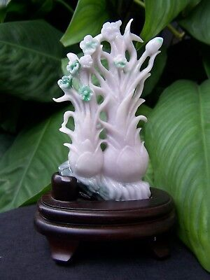 White Imperial Green Chinese Jadeite Carved Flower Statue Figurine w/ wood stand