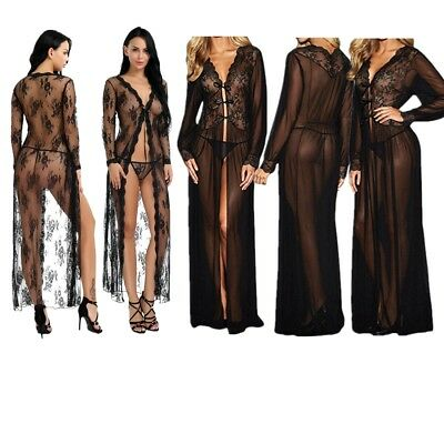 Sexy Women's Exotic Sleepwear Nightgown Sheer Long Sleeve Lace Robe +G-string