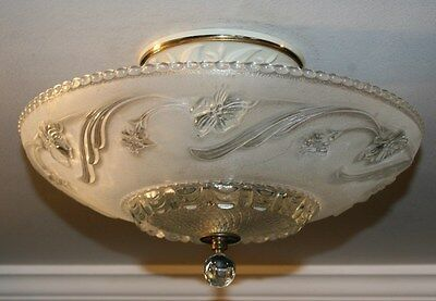 "Antique 16"" frosted glass art deco light fixture ceiling chandelier Porelier"