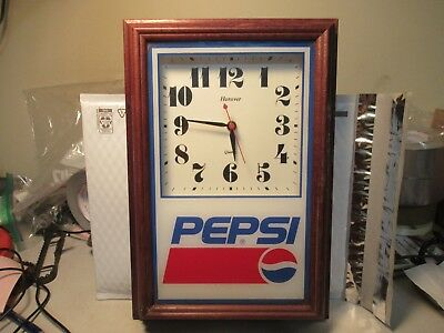 Pepsi Cola Clock Vintage Battery Operated Advertising Wood Frame Glass Front