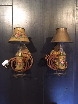 Antique hand-painted french wall lights, new 5 amp sockets, bulb holder, cable