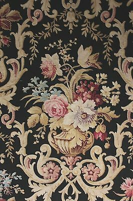 Antique black fabric French material heavy weight upholstery large scale floral