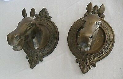 TWO Vtg Brass Horse Head Towel Holder Hook Bridle Tack Hat Coat Western Cowboy