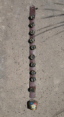 Christmas Sleigh Bells on Strap w Swiss Cow Bell Jingel Bells Hanging Door Bell