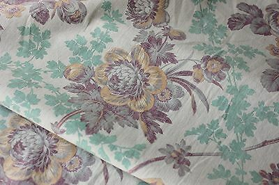 Antique French 1895 printed cotton Belle Epoque floral soft faded turquoise old~