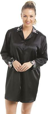dea13f3264 Camille Womens Ladies Nightwear Luxury Black Floral Satin Long Sleeve  Nightshirt