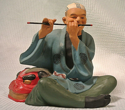 Hakata Urasake Doll Man with Flute and Dragon Mask Excellent Condition
