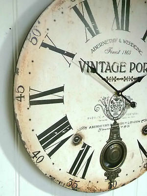 EXTRA LARGE 60cm SHABBY CHIC WALL CLOCK  ANTIQUE VINTAGE STYLE ROUND NEW & BOXED