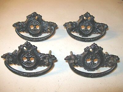 (4) Antique  Brass  Drawer Pulls / Handles-- Pressed Brass -- Screws Included