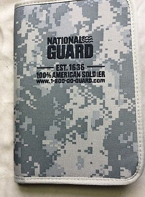 """National Guard 100% American Soldier Zip Up Planner/  size 6 1/2"""" x 10"""" ACU"""