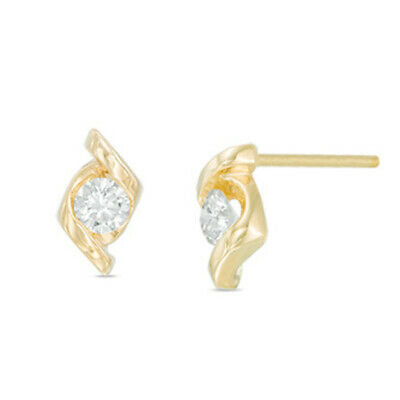 1/4 ct Natural Diamond Solitaire Stud Earrings in 14K Solid Yellow Gold