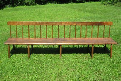 Rare authentic antique Shaker Meeting House Bench - circa 1830 - Tiger maple NY