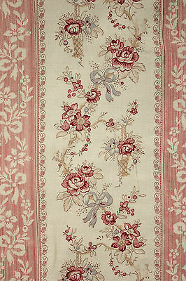 Vintage French curtain old Faded floral + Stripe pink blue c1910  Biedermeier
