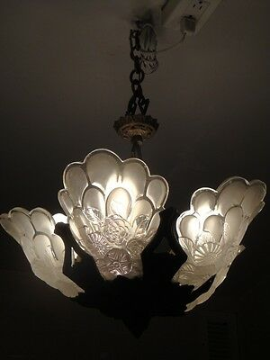 STUNNING RARE ESTATE FROSTED GLASS DECO CHANDELIER LAMP GENET ET MICHON 1920's!!
