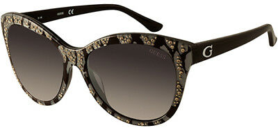 Guess Women's Rhinestone Accent Cat Eye Sunglasses GU7437 05B