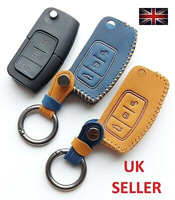 Ford Fiesta Kuga Zetec Leather Key Fob Cover 3 Button Remote Flip Key Case 1