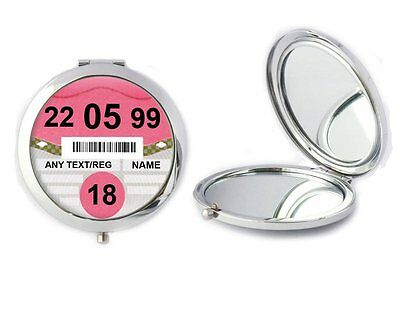 Personalised 18th Birthday Car Tax Disc Compact Mirror Ideal Birthday Gift T71