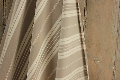 Antique French ticking fabric heavy weight upholstery cotton pale putty gray
