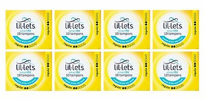 8 x Lil-Lets Smart-fit REGULAR Tampons 10 Pack Suitable for Light to Medium Flow
