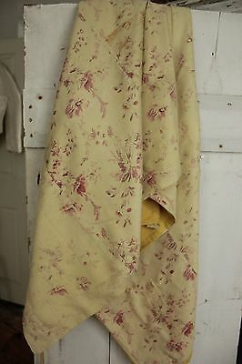 Antique French fabric  FADED c 1880 yellow floral curtain for cutting projects