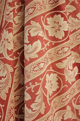 Antique curtain French c1880 19th century textile w/ trim Arts and Crafts