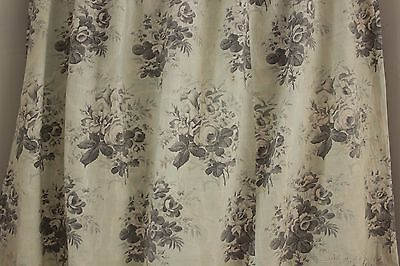 Antique French c 1850  printed chintz cotton curtain mint green fabric material