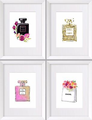 NEW Set of 4 Coco Chanel No 5 Elegant Water Colour Prints Three Sizes Perfume