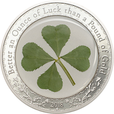 "2018 Four 4 Leaf Clover Silver Coin $5 Palau ""Ounce of Luck"" 1 oz silver"