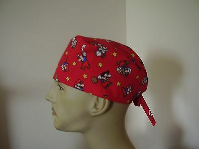 Surgical Scrub Cap/Hat-Nintendo- Mario on Red -One size-Men Women