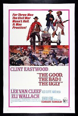 THE GOOD THE BAD AND THE UGLY ✯ Clint Eastwood VINTAGE MOVIE POSTER 1966 WESTERN