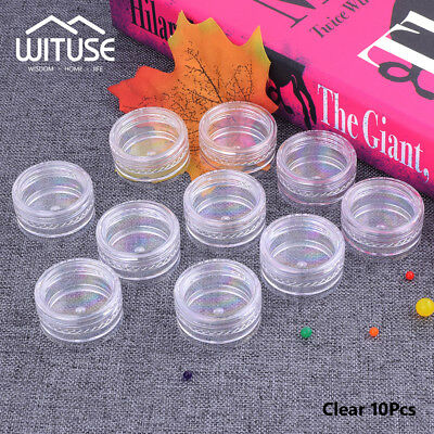 10pcs 3g Round Empty Cosmetic Plastic Sample Containers Cream Jars Clear Pots