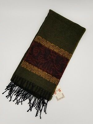 Celtic Border Jacquard Alba Scarf by Calzeat of Scotland - Green Red - Olive