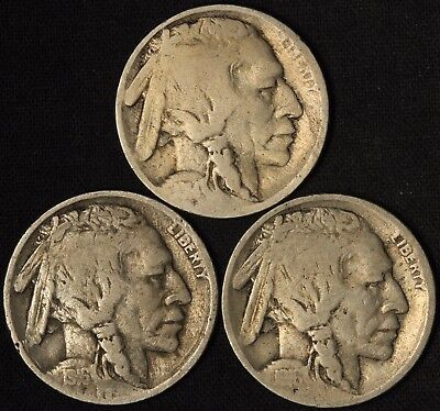 1914, 1916 and 1916-D Buffalo Nickels - 3 Coins - Free Shipping USA