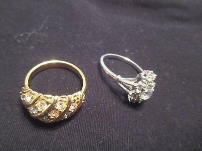 Vintage Fashion & Dealer Sample Costume Jewelry Ring Sz 10 Lot Of 2 Rings