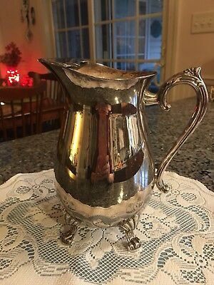 Vintage Silver Plated Footed Water Pitcher with Ice Guard