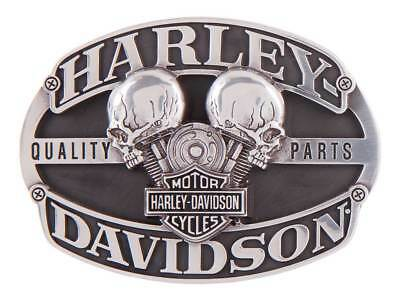 Harley-Davidson Men's Motorhead Skull Belt Buckle, Antique Silver HDMBU11419