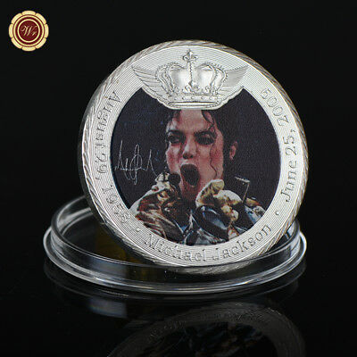 WR THE KING OF POP Michael Jackson Singing in Concert Silver Coin Fans Souvenir