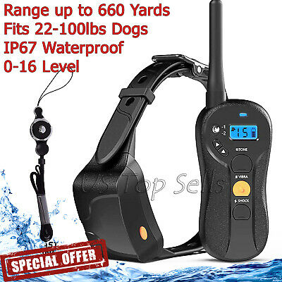 Electric Dog Collar Shock Waterproof Rechargeable Petrainer LCD Remote Training