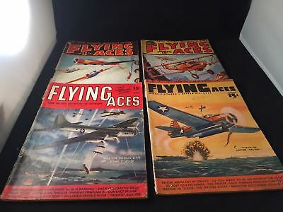 WWII Era FLYING ACES Vintage Magazine LOT X 4 Early PULPS Bombers GREAT COVERS