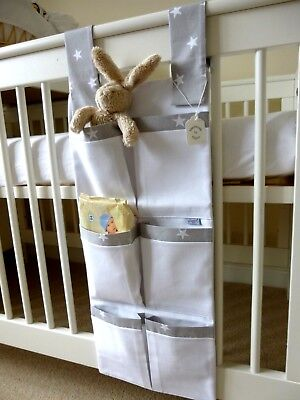 Nursery Cot Organiser/Tidy Grey & White Stars 100% Cotton Baby Gift - BNWT